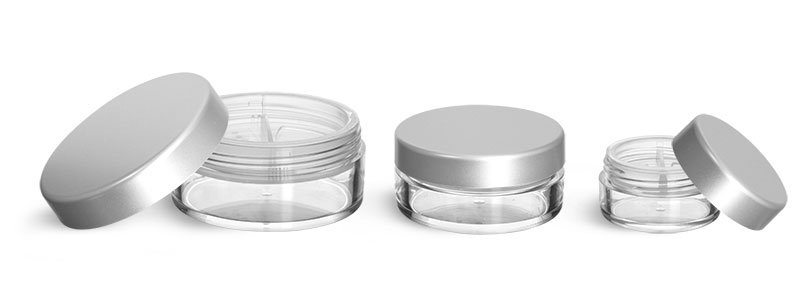 Plastic Jars, Clear Polystyrene Jars with Natural Double Sifters and Matte Silver Lined Caps