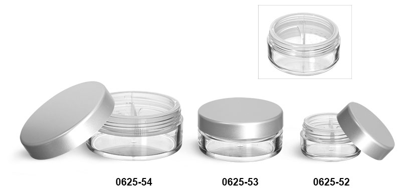 Plastic Jars, Clear Polystyrene Jars w/ Natural Double Sifters and Matte Silver Lined Caps