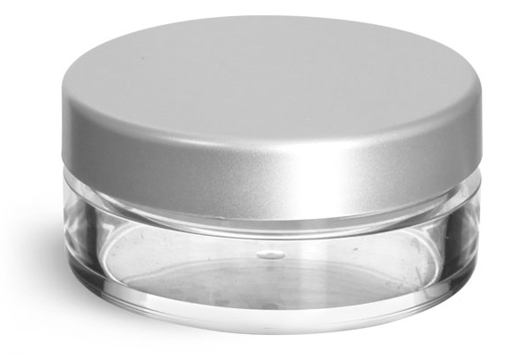 20 ml Clear Styrene Jars with Natural Double Sifters and Matte Silver Lined Caps