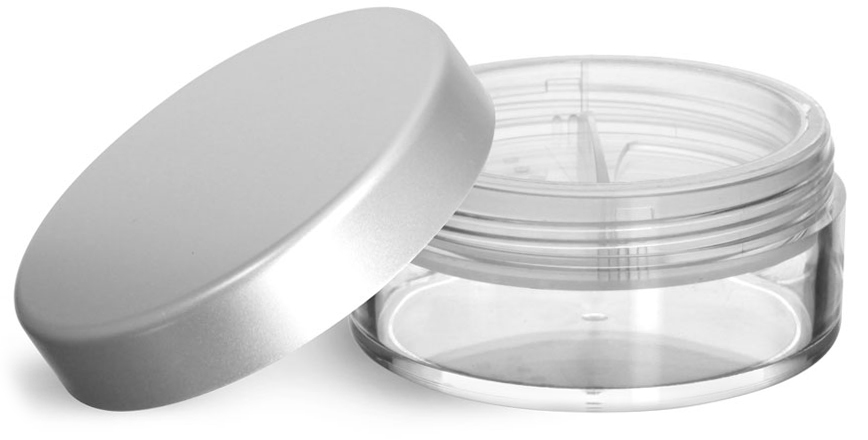 Clear Styrene Jars with Natural Double Sifters and Matte Silver Lined Caps