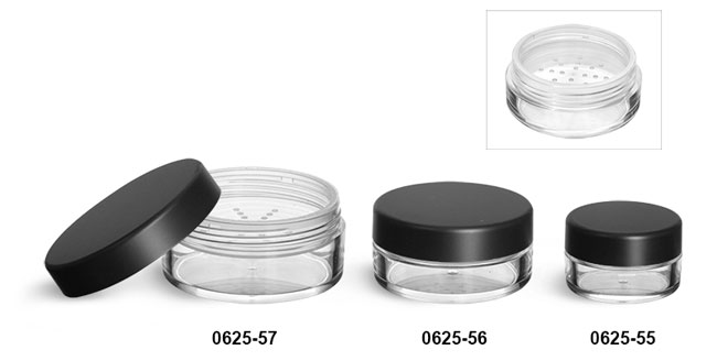 Plastic Jars, Clear Polystyrene Jars w/ Natural Sifters & Matte Black Lined Caps