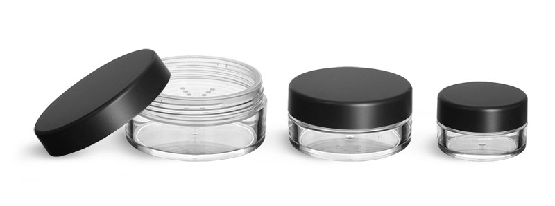 Plastic Jars, Clear Polystyrene Jars with Natural Sifters and Matte Black Lined Caps