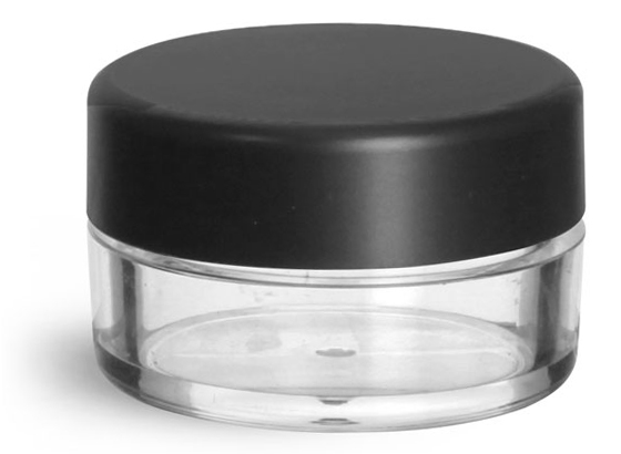 10 ml Clear Styrene Jars with Matte Black Lined Caps