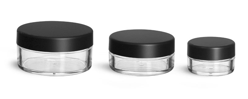Plastic Jars, Clear Polystyrene Jars with Matte Black Lined Caps