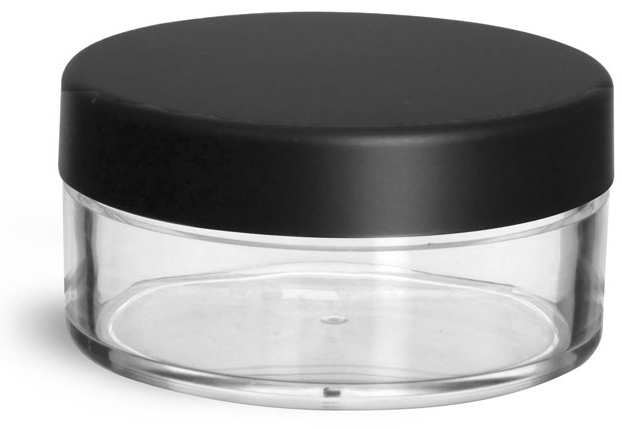 Clear Styrene Jars with Matte Black Lined Caps