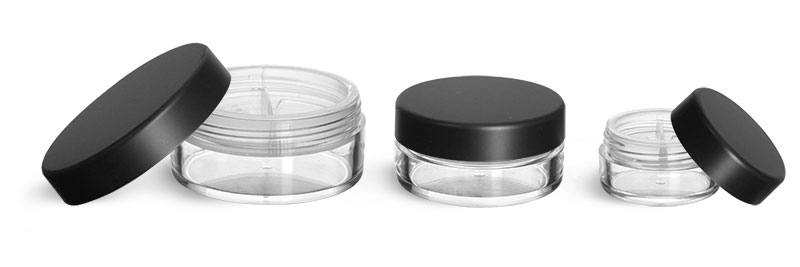 Plastic Jars, Clear Polystyrene Jars with Natural Double Sifters and Matte Black Lined Caps