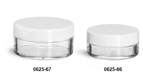Plastic Jars, Clear Polystyrene Jars w/ White Smooth Lined Caps