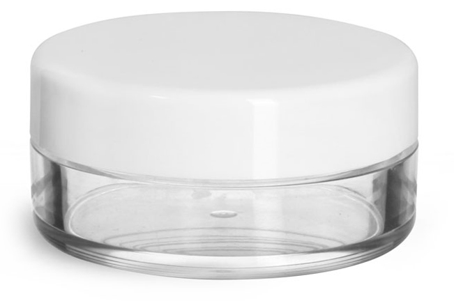 20 ml Plastic Jars, Clear Styrene Jars w/ White Smooth Lined Caps