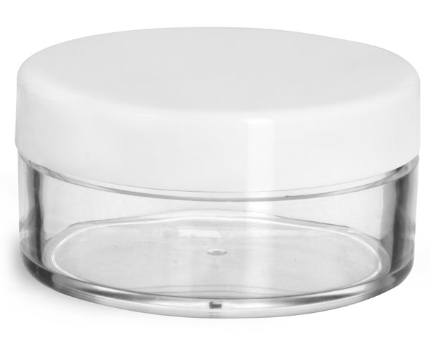 45 ml Plastic Jars, Clear Styrene Jars w/ White Smooth Lined Caps