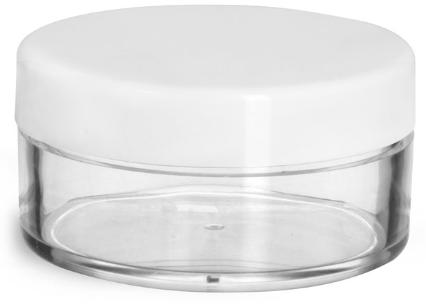Plastic Jars, Clear Styrene Jars w/ White Smooth Lined Caps