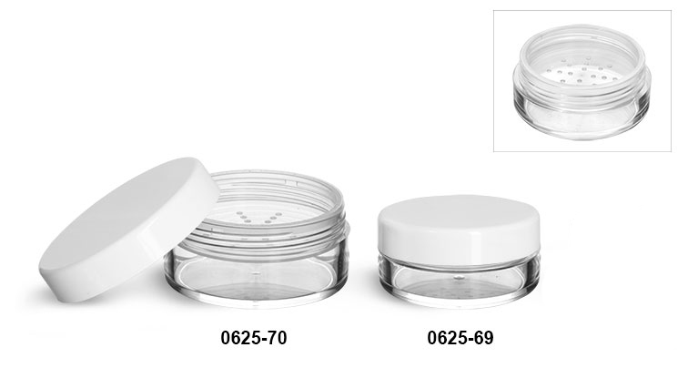 Plastic Jars, Clear Polystyrene Jars w/ Natural Sifters and Smooth White Caps