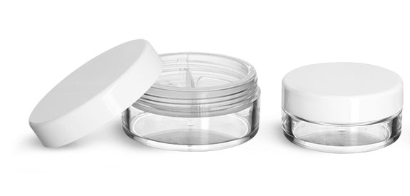 Plastic Jars, Clear Polystyrene Jars w/ Natural Double Sifters and Smooth White Caps