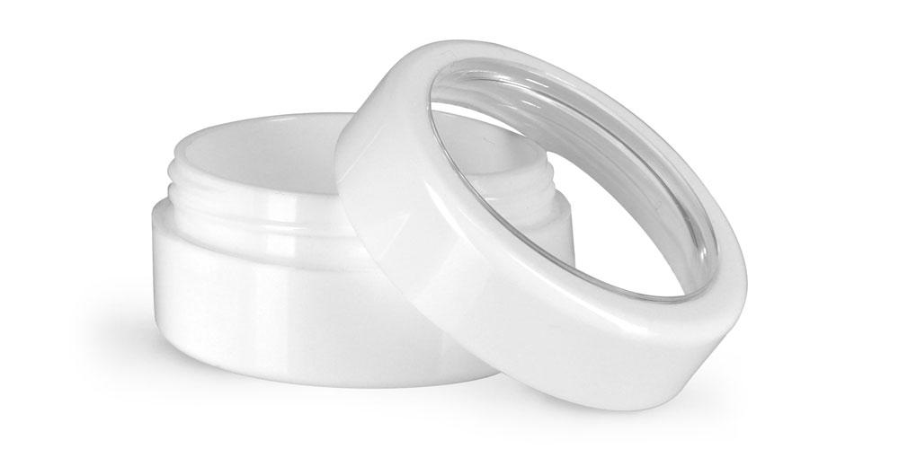 1/4 oz Plastic Jars, White ABS Cosmetic Jars w/ White Caps & Clear Windows