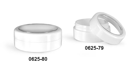 Plastic Jars, White ABS Cosmetic Jars w/ White Caps & Clear Windows
