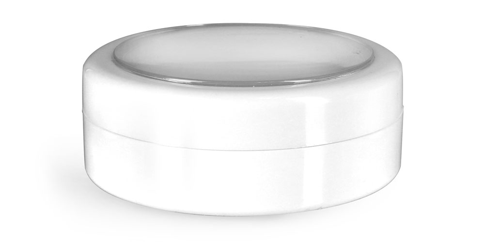 1/2 oz Plastic Jars, White ABS Cosmetic Jars w/ White Caps & Clear Windows
