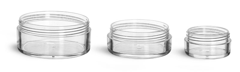 Clear Polystyrene Jars (Bulk) Caps Not Included