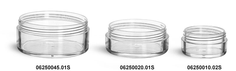 Plastic Jars, Clear Polystyrene Jars (Bulk) Caps Not Included