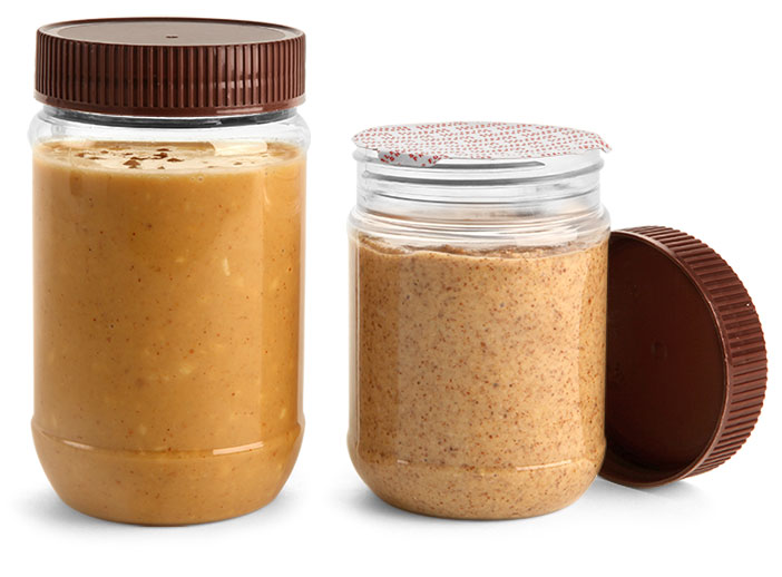 PET Plastic Jars, Clear Peanut Butter Jars w/ Brown Ribbed Induction Lined Caps