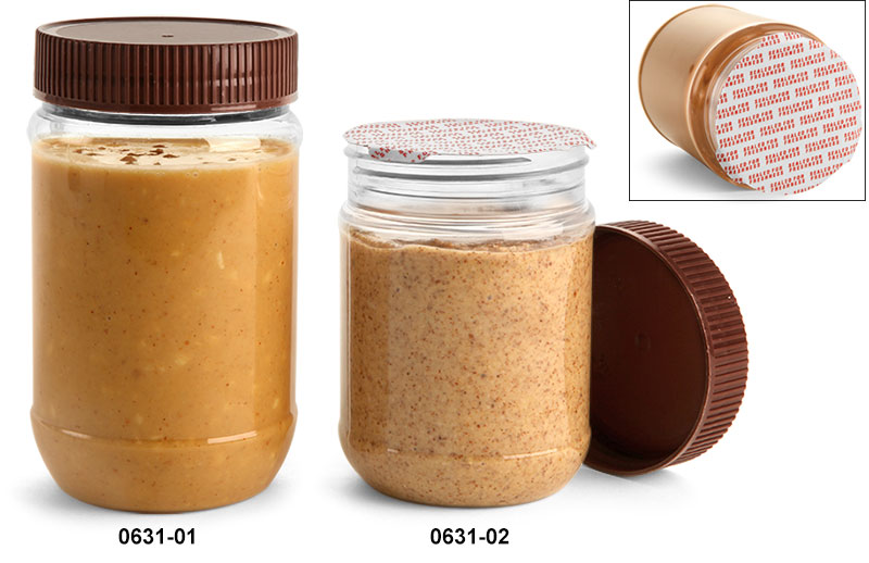 Plastic Jars, Clear PET Peanut Butter Jars w/ Brown Ribbed Induction Lined Caps