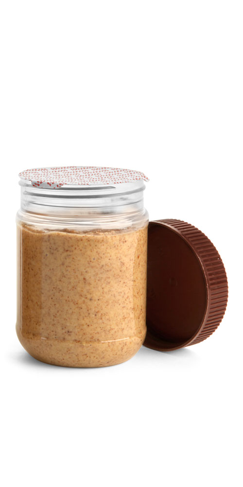 12 oz Clear PET Peanut Butter Jars w/ Brown Ribbed Lined Caps