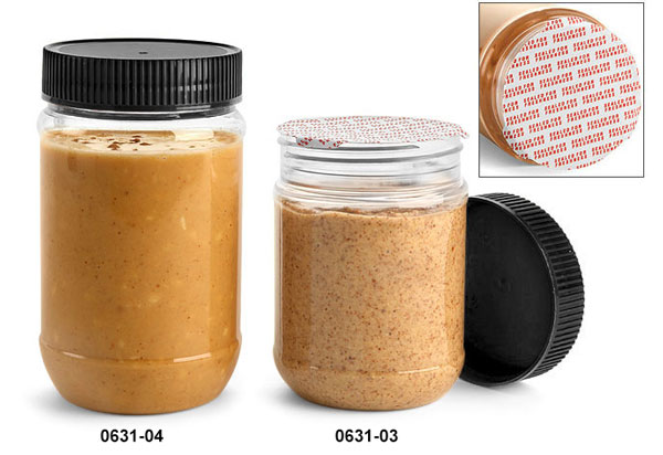 Plastic Jars, Clear PET Peanut Butter Jars w/ Black Ribbed Induction Lined Caps