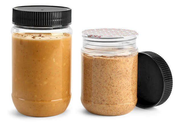PET Plastic Jars, Clear Peanut Butter Jars w/ Black Ribbed Induction Lined Caps