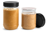 Clear PET Peanut Butter Jars w/ Black Ribbed Lined Caps