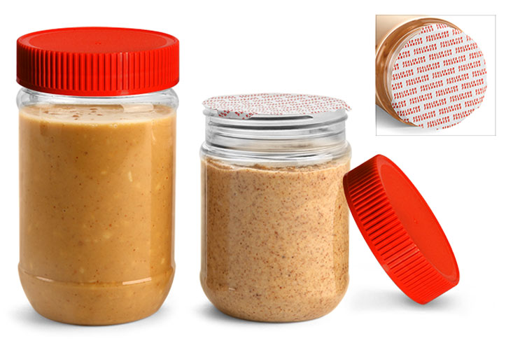 PET Plastic Jars, Clear Peanut Butter Jars w/ Red Ribbed Induction Lined Caps