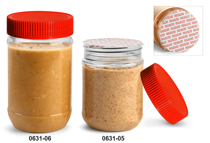 Plastic Jars, Clear PET Peanut Butter Jars w/ Red Ribbed Induction Lined Caps