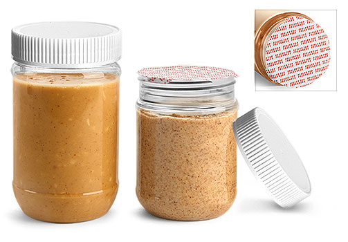 Plastic Jars, Clear PET Peanut Butter Jars w/ White Ribbed Induction Lined Caps