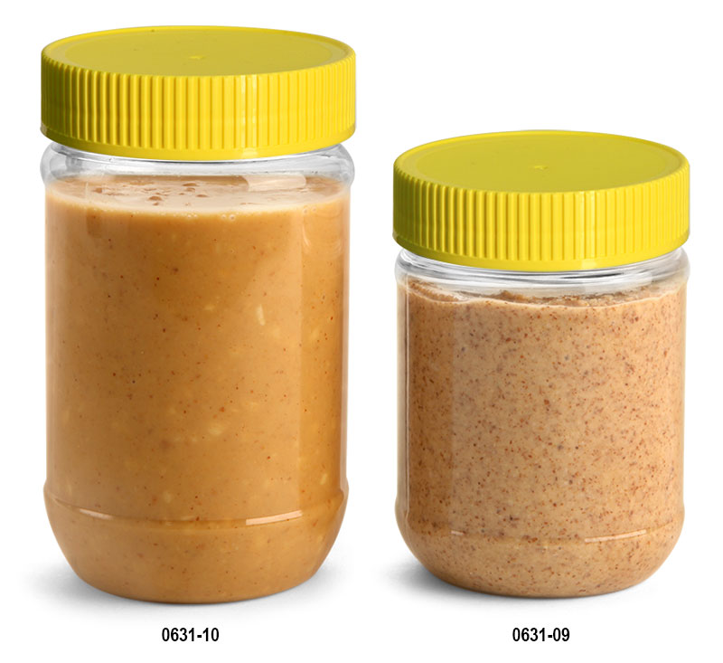 Plastic Jars, Clear PET Peanut Butter Jars w/ Yellow Ribbed Induction Lined Caps