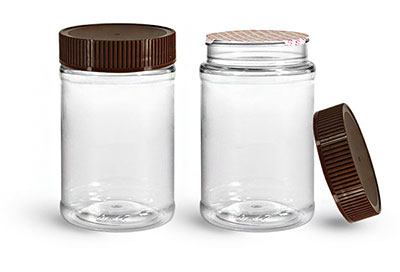 Food Jars, 16 oz Clear PET Plastic Jars w/ Brown Ribbed Induction Lined Caps