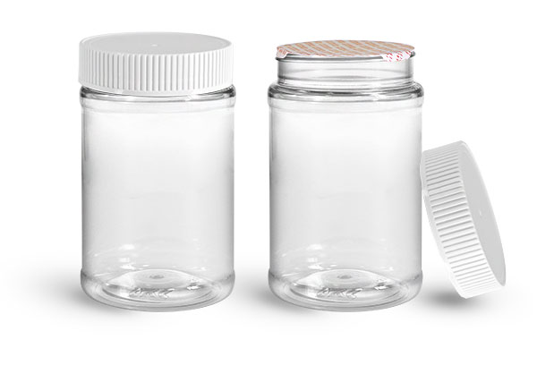 PET Plastic Jars, Clear Food Jars w/ White Ribbed Induction Lined Caps