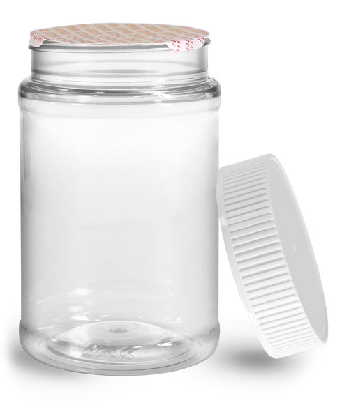 Plastic Jars, 16 oz Clear PET Round Jar w/ White Ribbed Induction Lined Caps