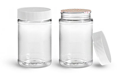 Food Jars, 16 oz Clear PET Plastic Jars w/ White Ribbed Induction Lined Caps