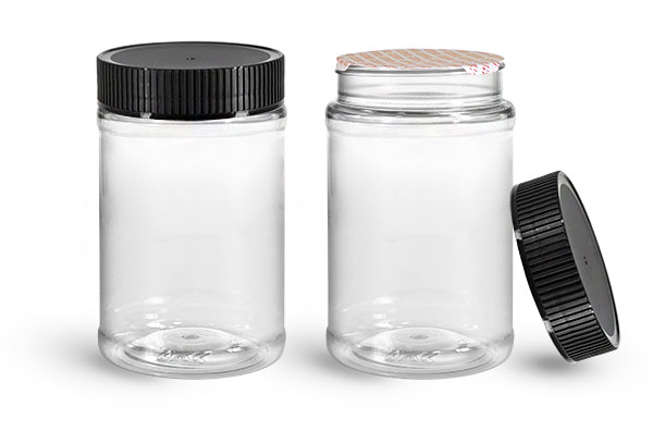 PET Plastic Jars, Clear Food Jars w/ Black Ribbed Induction Lined Caps