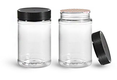 Food Jars, 16 oz Clear PET Plastic Jars w/ Black Ribbed Induction Lined Caps