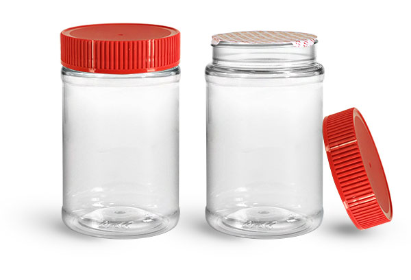 PET Plastic Jars, Clear Food Jars w/ Red Ribbed Induction Lined Caps
