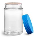16 oz16 oz Plastic Jars, 16 oz Clear PET Round Jar w/ Blue Ribbed Induction Lined Caps