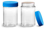 PET Plastic Jars, Clear Food Jars w/ Blue Ribbed Induction Lined Caps