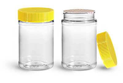 Food Jars, 16 oz Clear PET Plastic Jars w/ Yellow Ribbed Induction Lined Caps