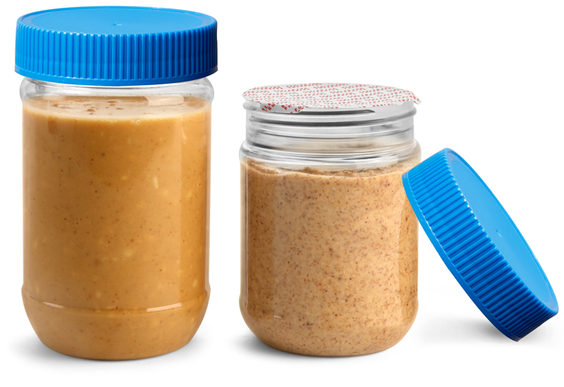 PET Plastic Jars, Clear Peanut Butter Jars w/ Blue Ribbed Induction Lined Caps