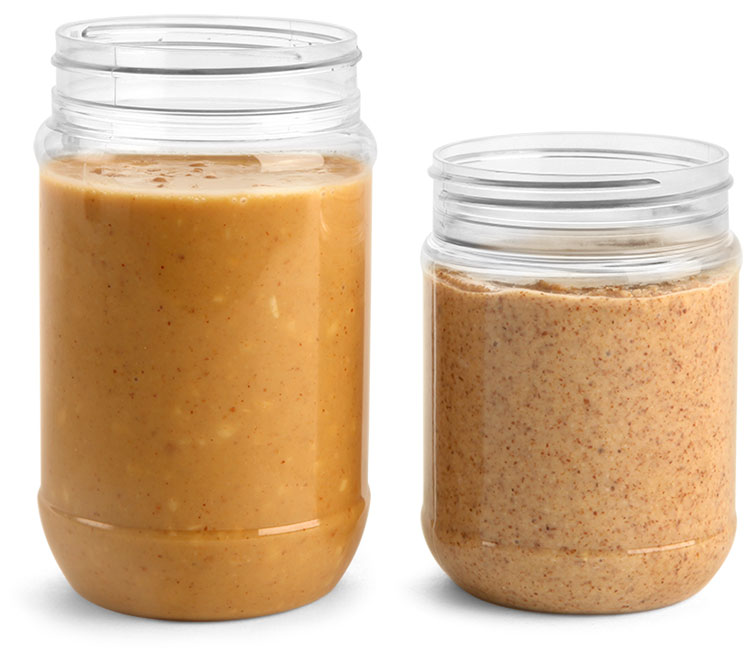 Clear PET Peanut Butter Jars (Bulk), Caps NOT Included