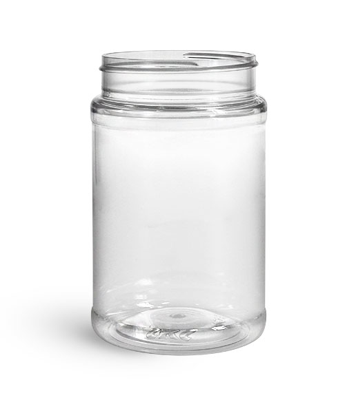 Food Jars, 16 oz Clear PET Plastic Jars (Bulk), Caps NOT Included