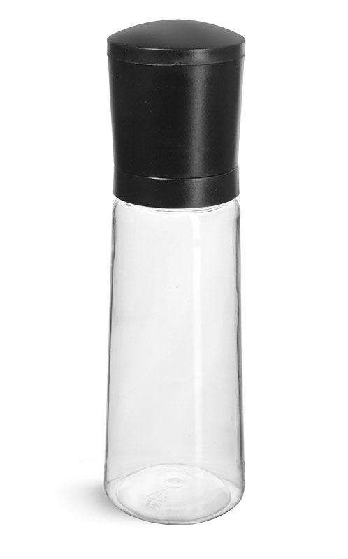 PET Plastic Bottles, Clear Spice Bottles w/ Black ABS Grinder Caps