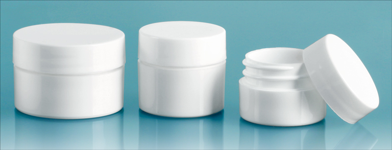 Polypropylene Plastic Jars, White Thick Wall Jars w/ White Lined Caps