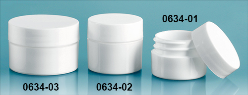 Plastic Jars, White Polypropylene Thick Wall Jars w/ White Lined Caps