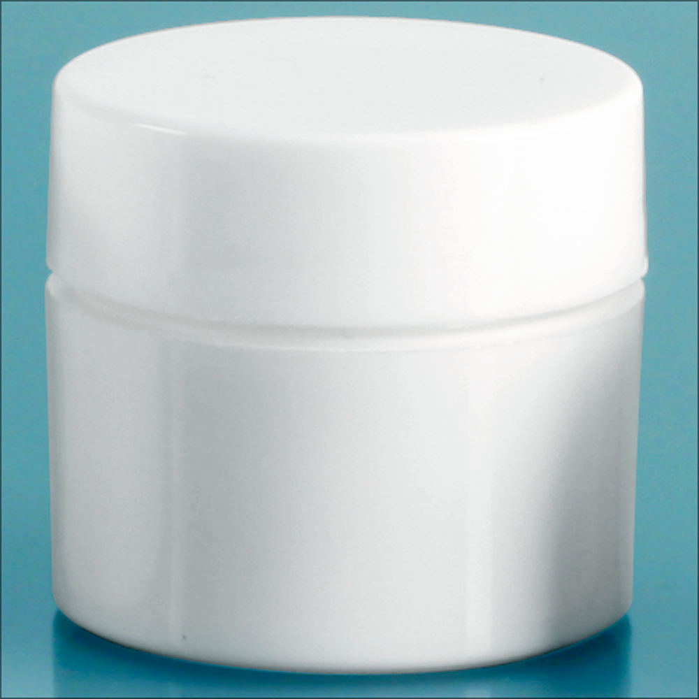 1/4 oz White Polypro Thick Wall Jars w/ White Lined Caps