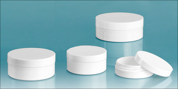 Polypropylene Plastic Jars, White Thick Wall Jars w/ Lined Caps