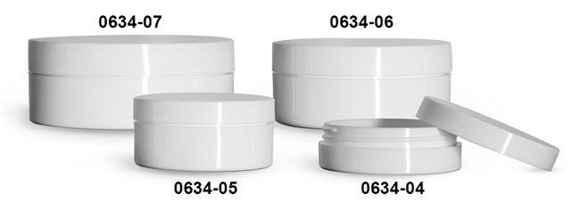 Plastic Jars, White Polypropylene Thick Wall Jars w/ Lined Caps